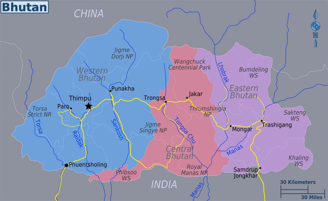 Large regions map of Bhutan