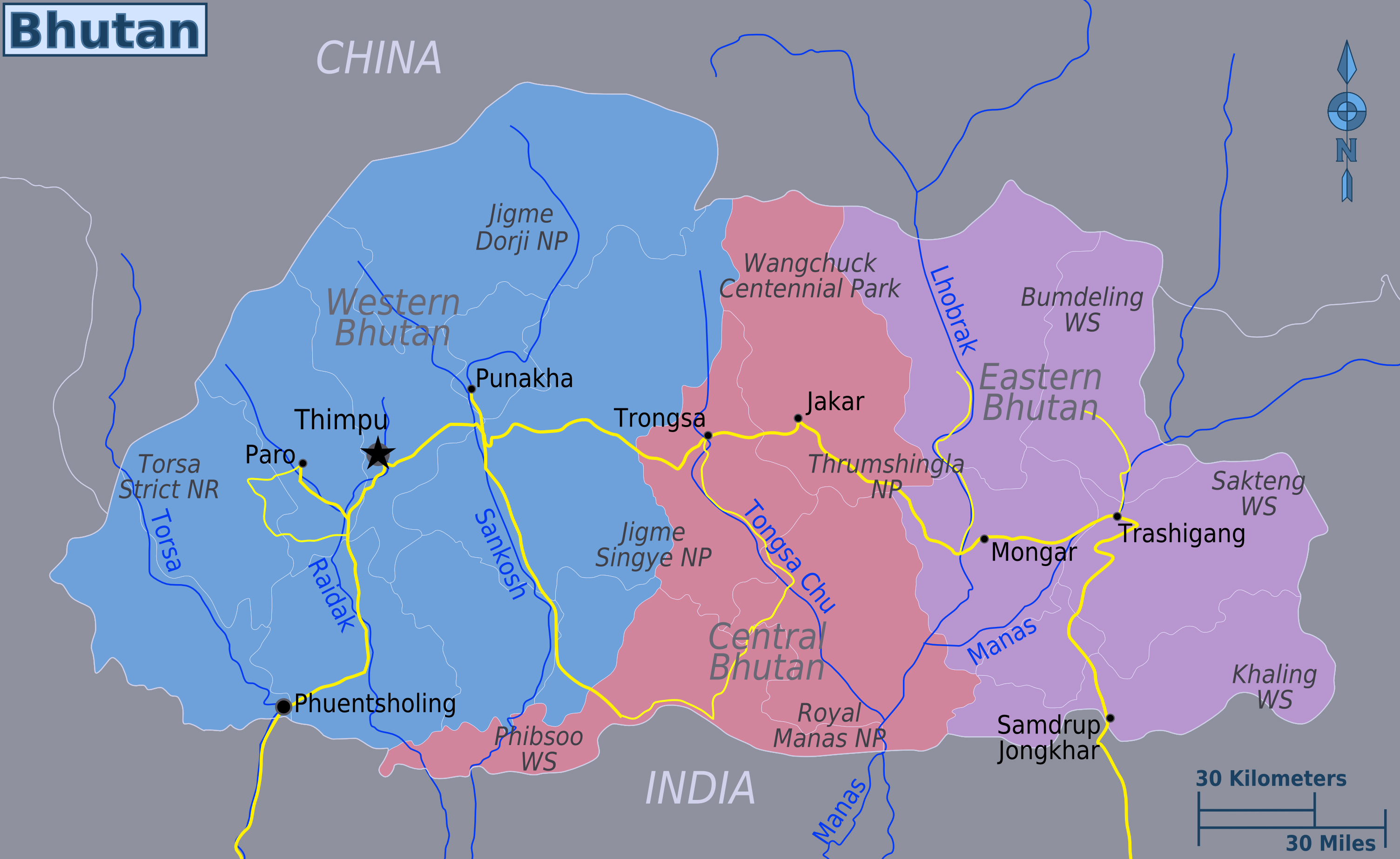 Map Of Asia Bhutan.Large Regions Map Of Bhutan Bhutan Asia Mapsland Maps Of The