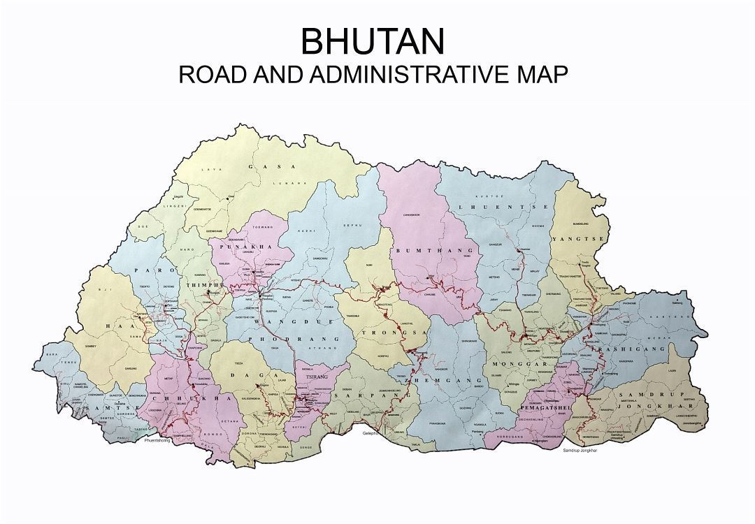 Large road and administrative map of Bhutan