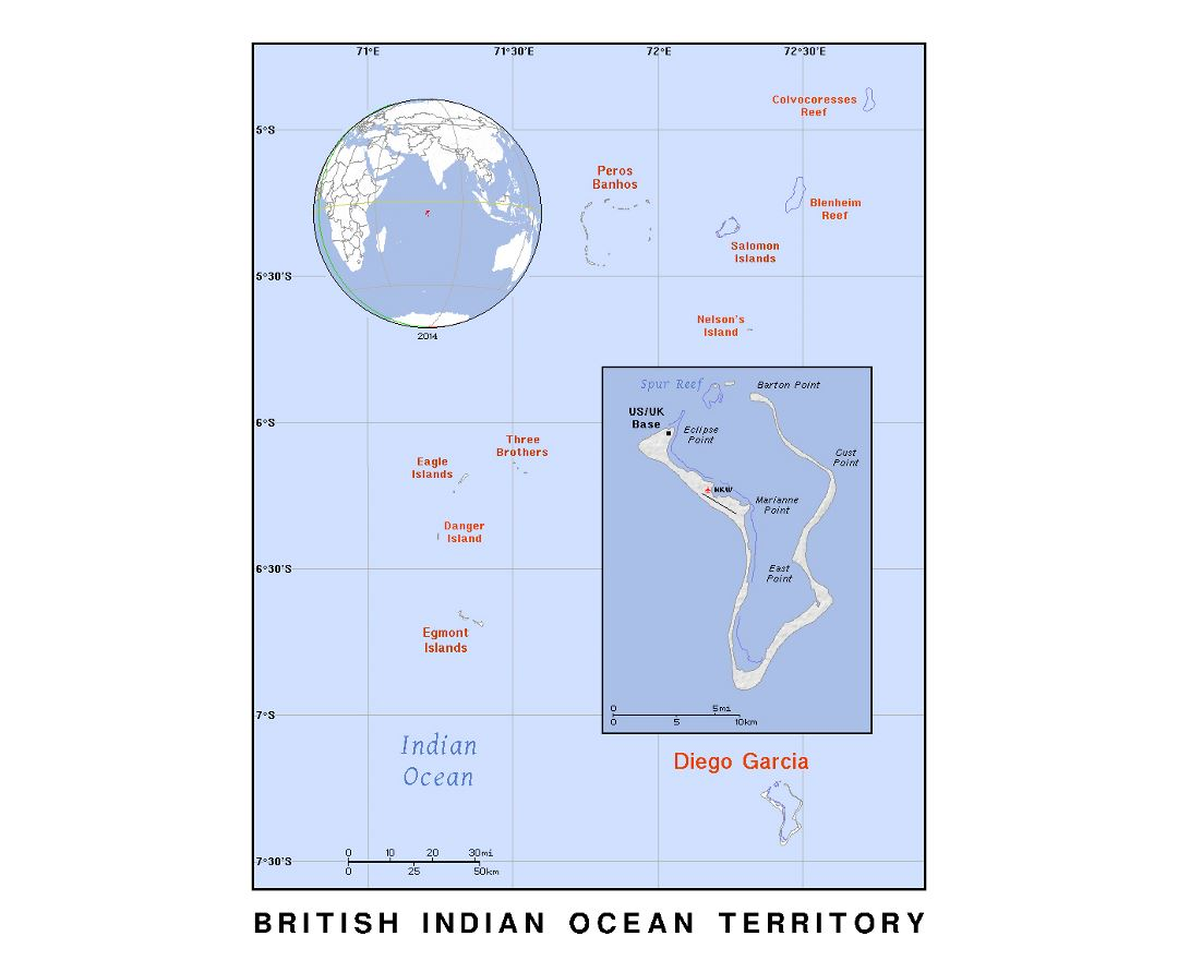 Detailed political map of British Indian Ocean Territory