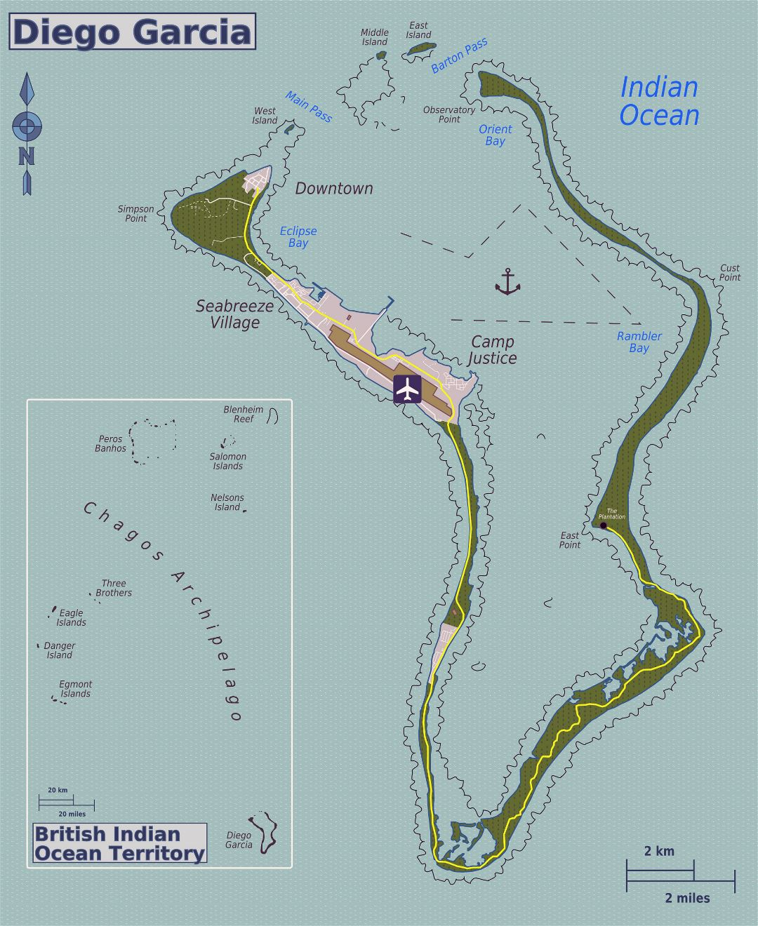 Large detailed map of Diego Garcia island (British Indian Ocean Territory)