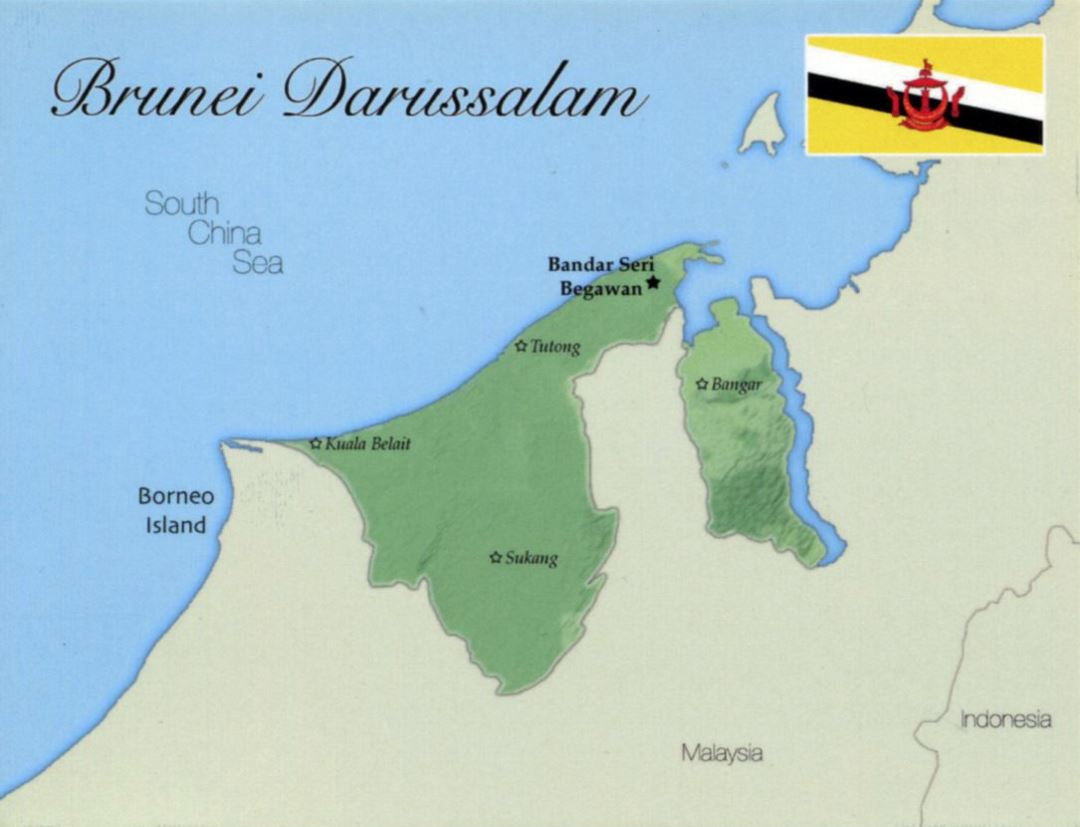 Detailed map of Brunei Darussalam with flag and major cities