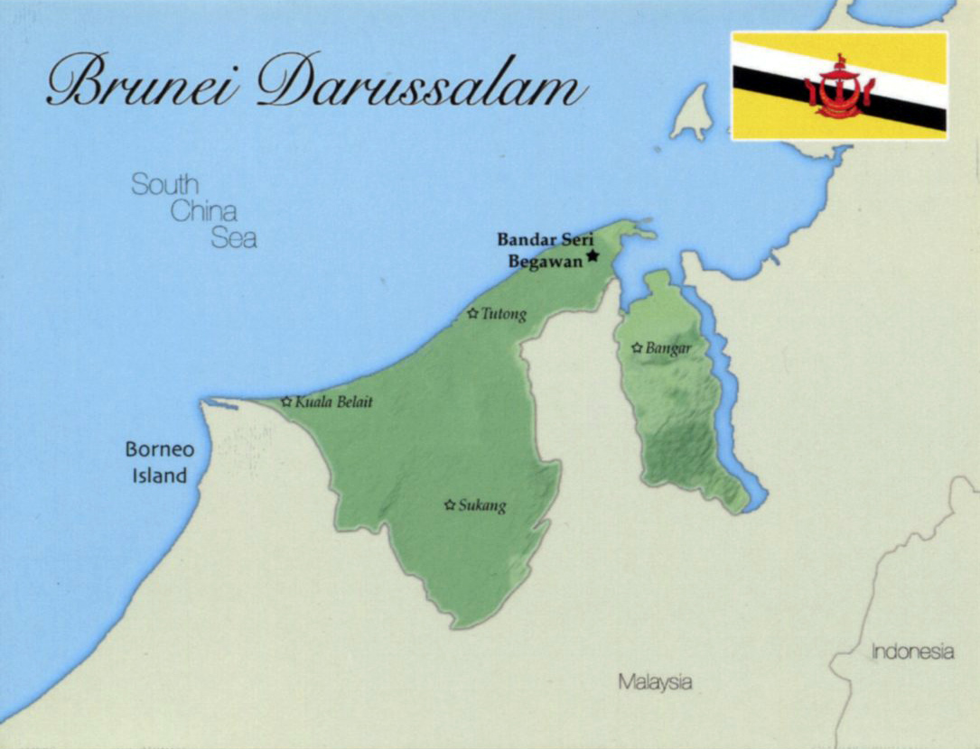 Map Of Asia Brunei.Detailed Map Of Brunei Darussalam With Flag And Major Cities