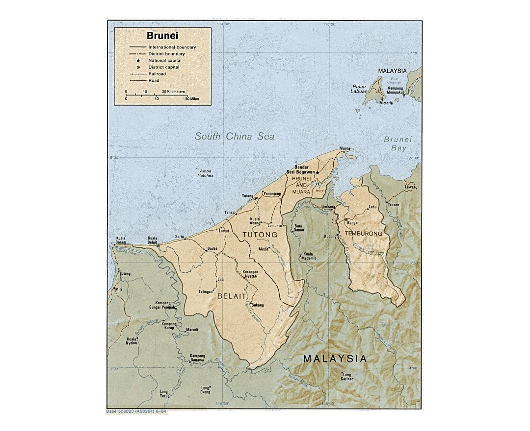 Detailed political and administrative map of Brunei with relief - 1984