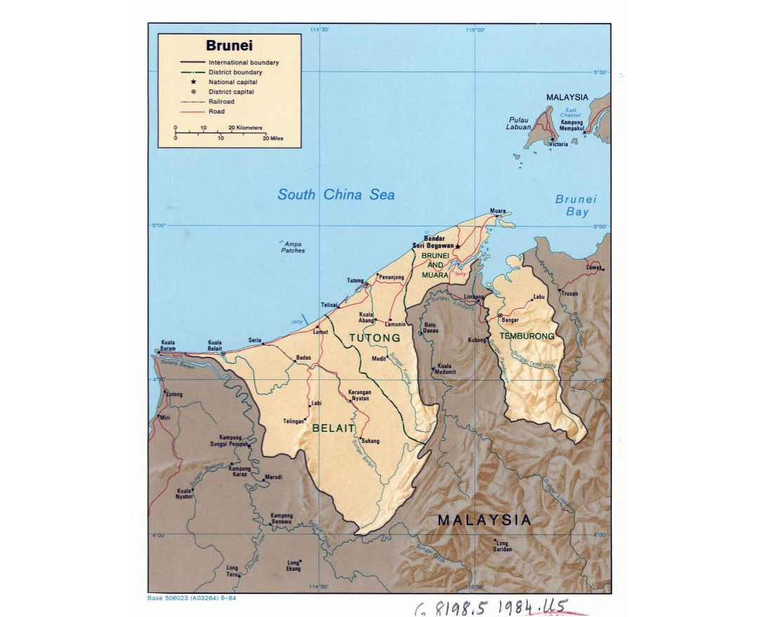 Detailed political and administrative map of Brunei with relief, roads, railroads and major cities - 1984