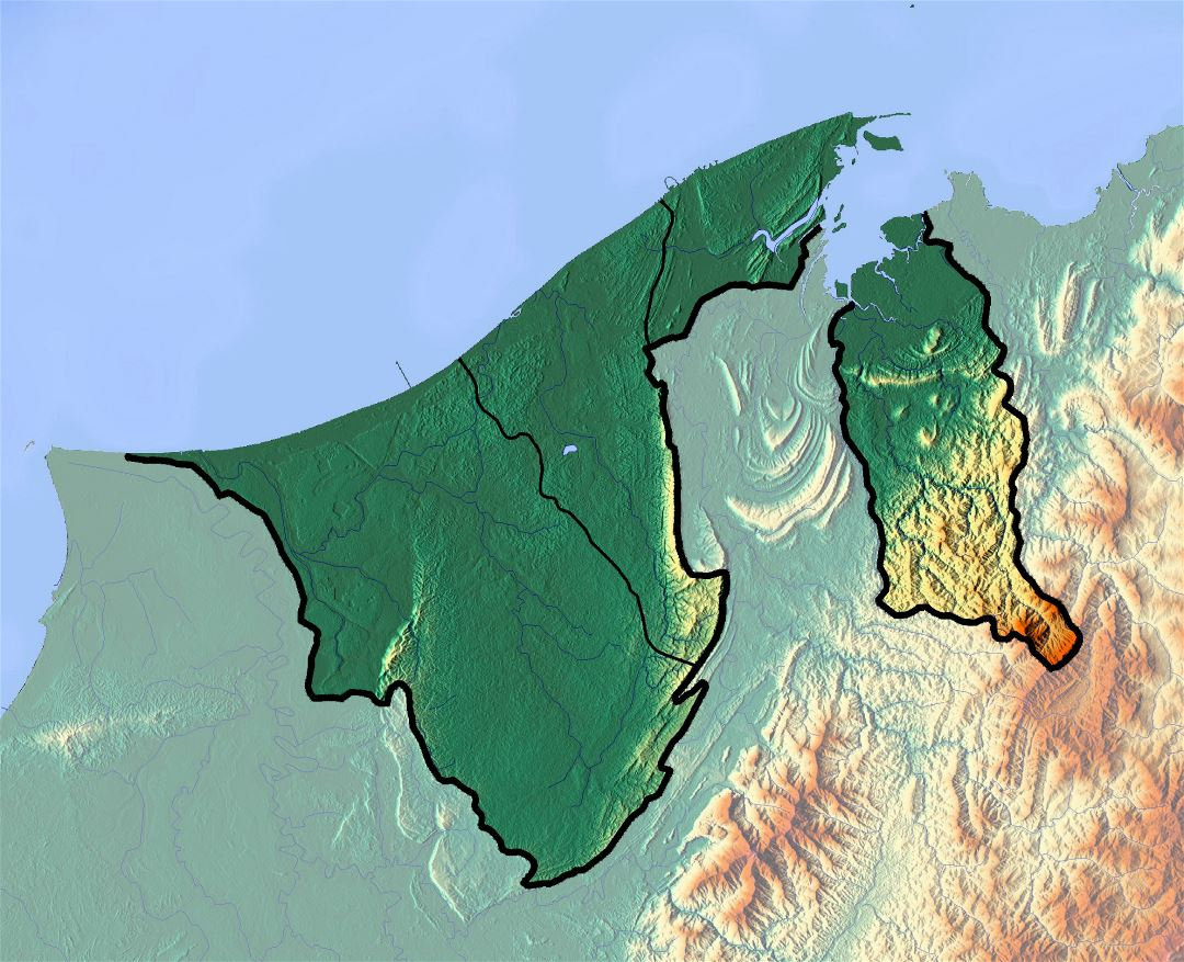 Detailed topographical map of Brunei