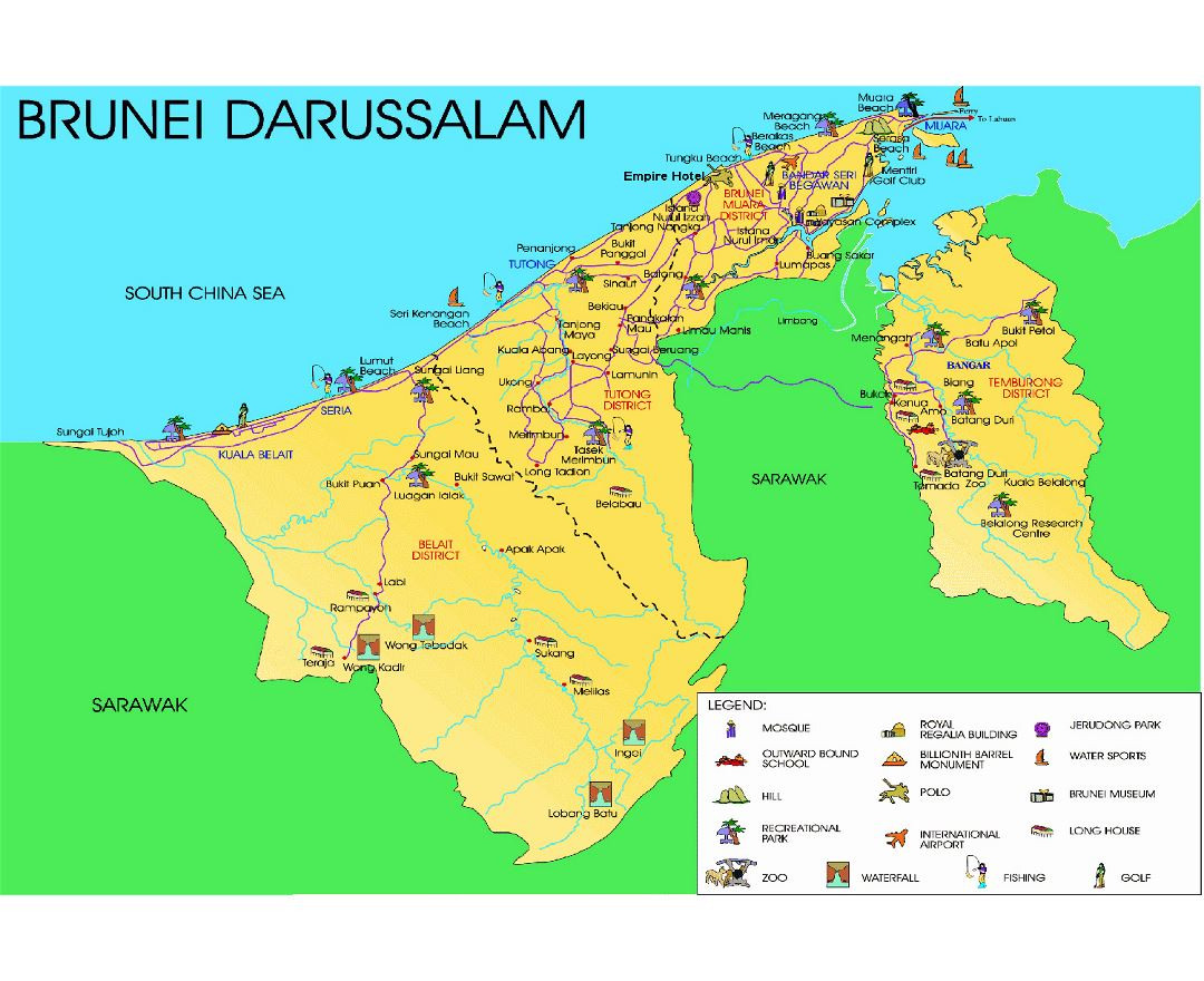 Detailed tourist map of Brunei