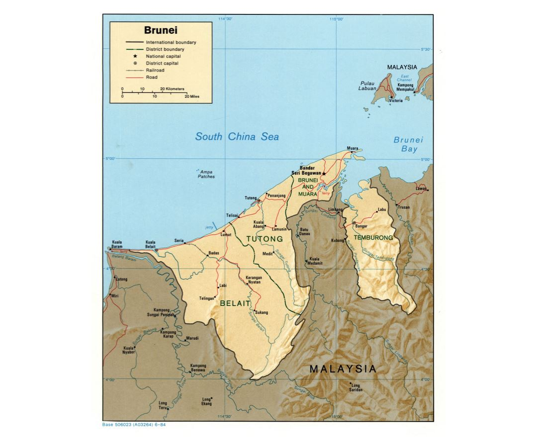 Large detailed political and administrative map of Brunei with relief roads railroads and major cities - 1984