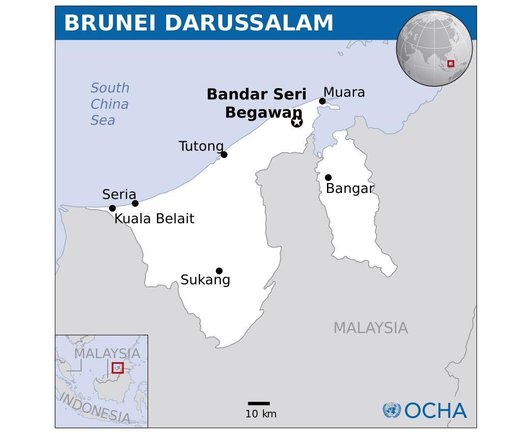 Large detailed political map of Brunei