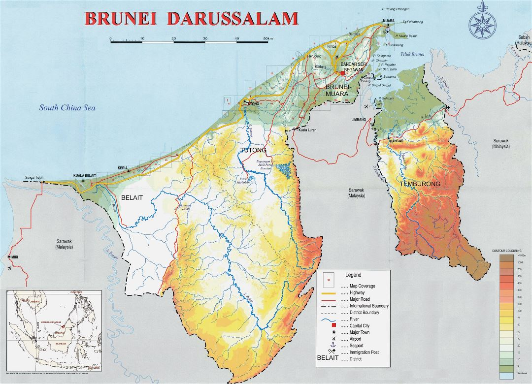 Large physical map of Brunei