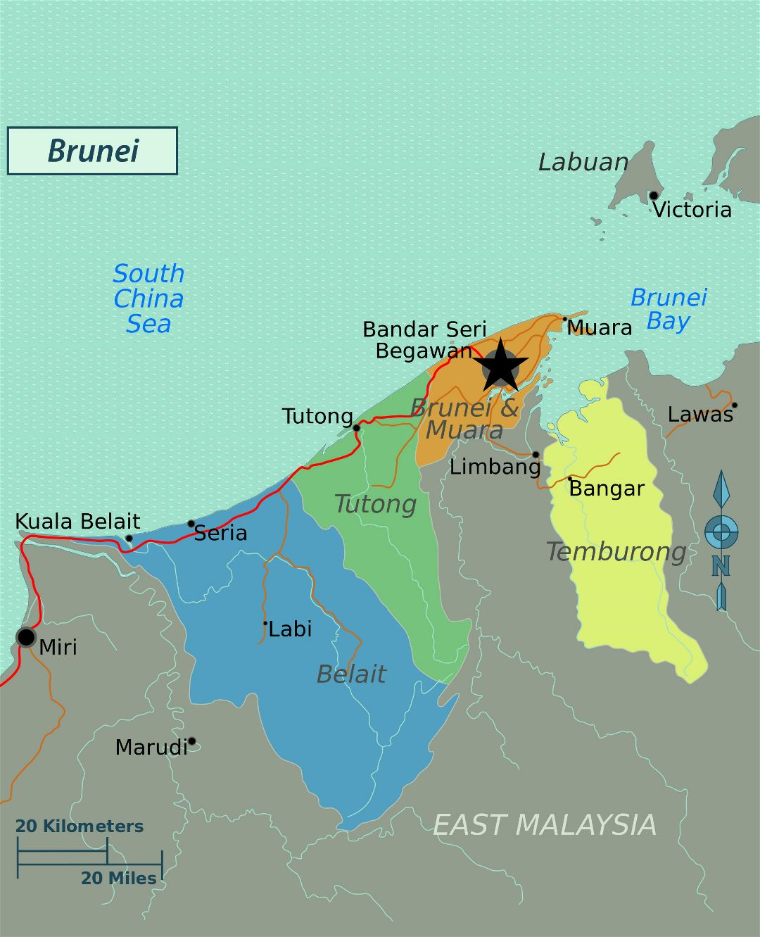 Large regions map of Brunei