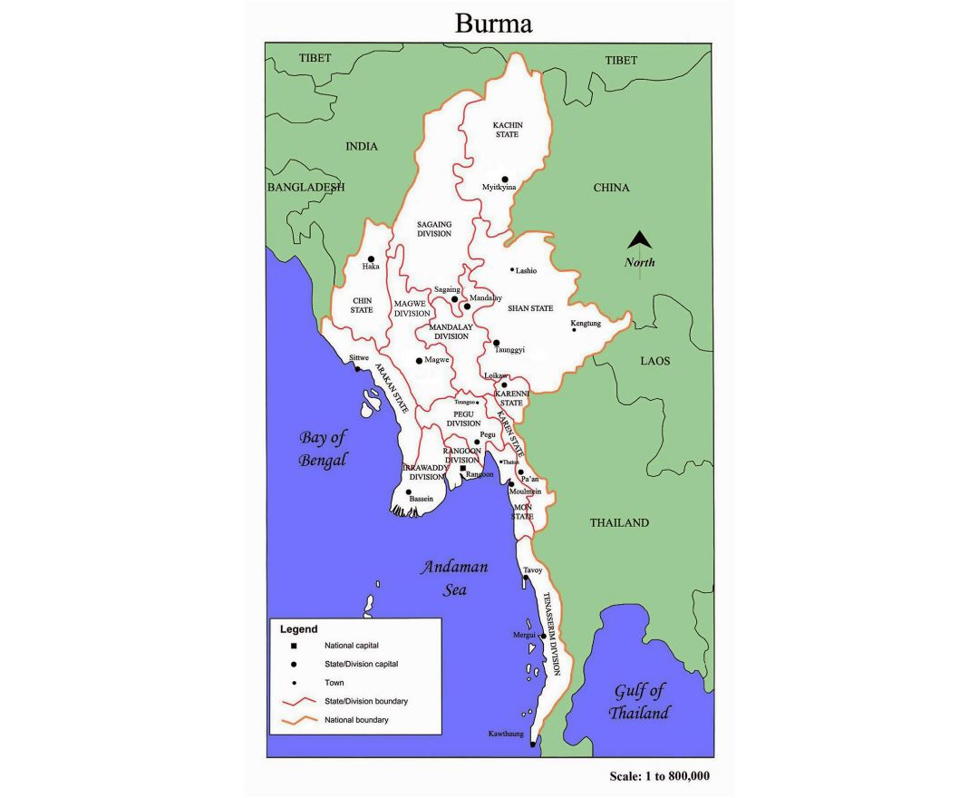 Administrative map of Burma