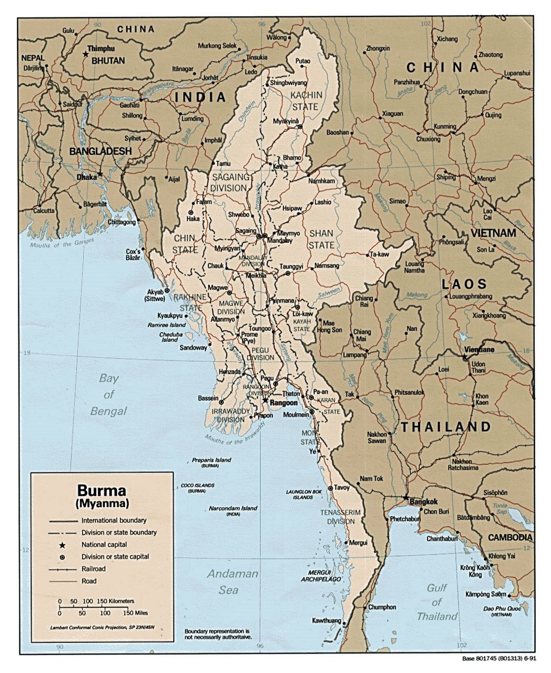 Detailed political and administrative map of Burma (Myanmar) - 1991