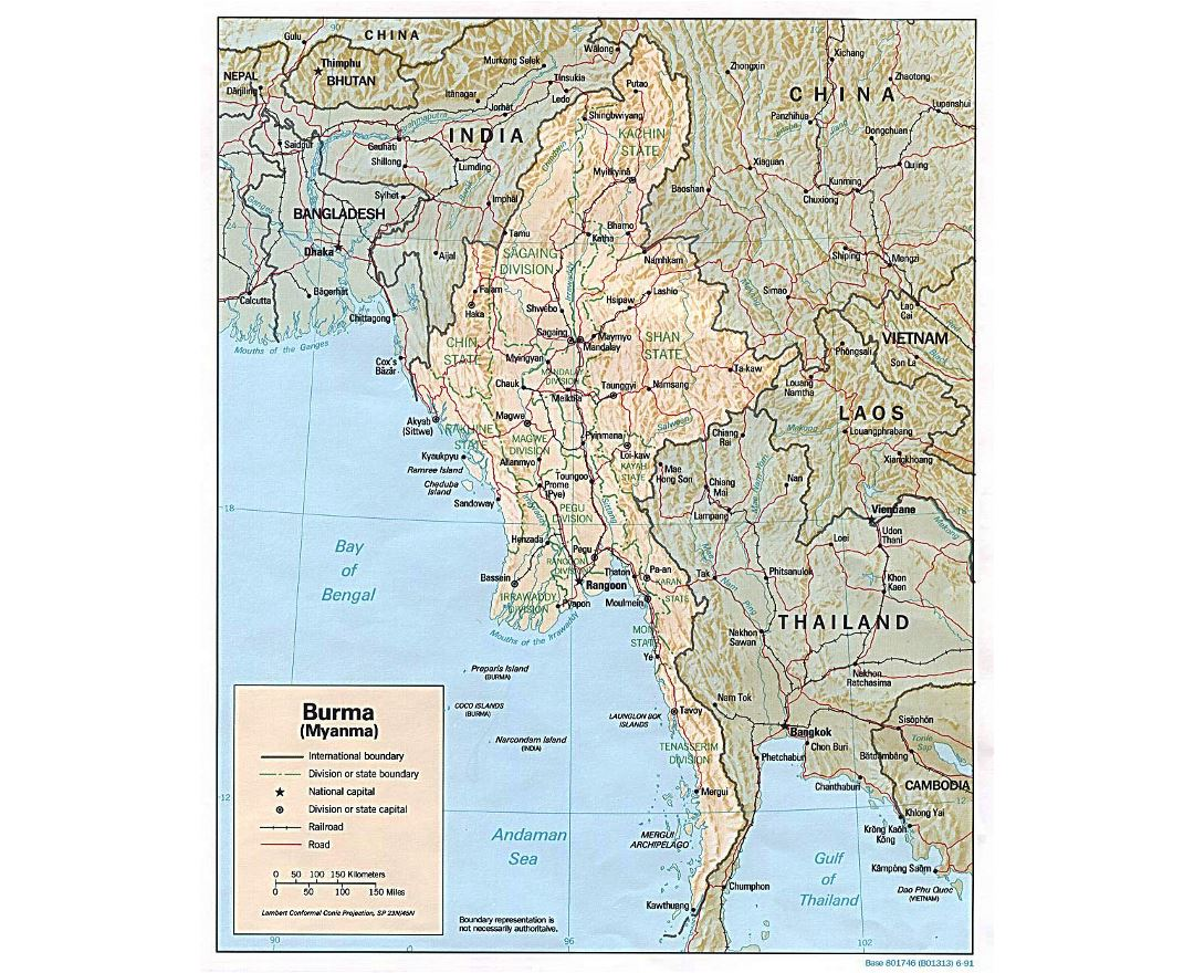 Detailed political and administrative map of Burma (Myanmar) with relief - 1991