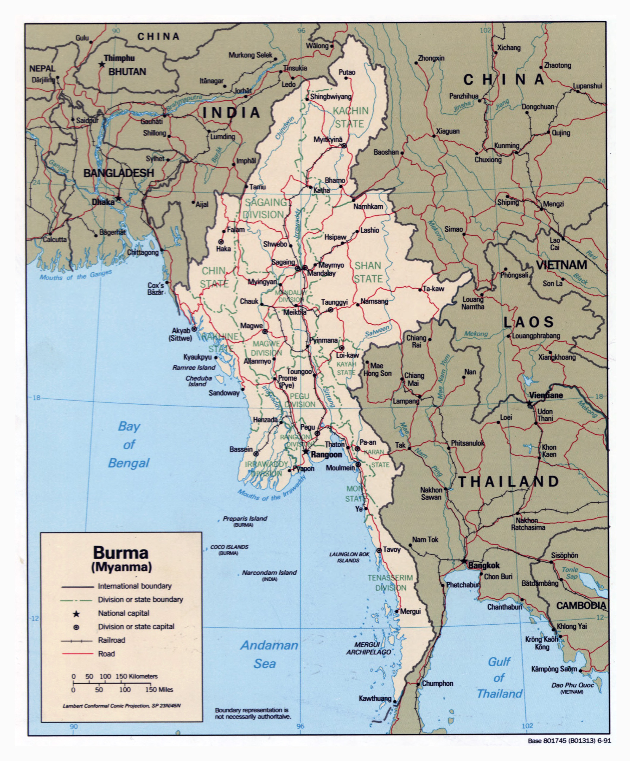 Large detailed political and administrative map of Burma Myanmar