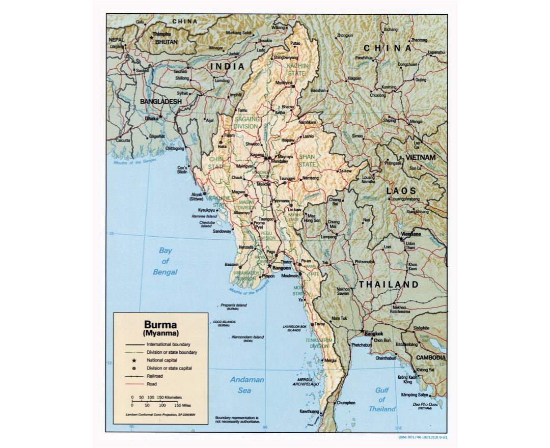 Large detailed political and administrative map of Burma (Myanmar) with relief, roads, railroads and major cities - 1991