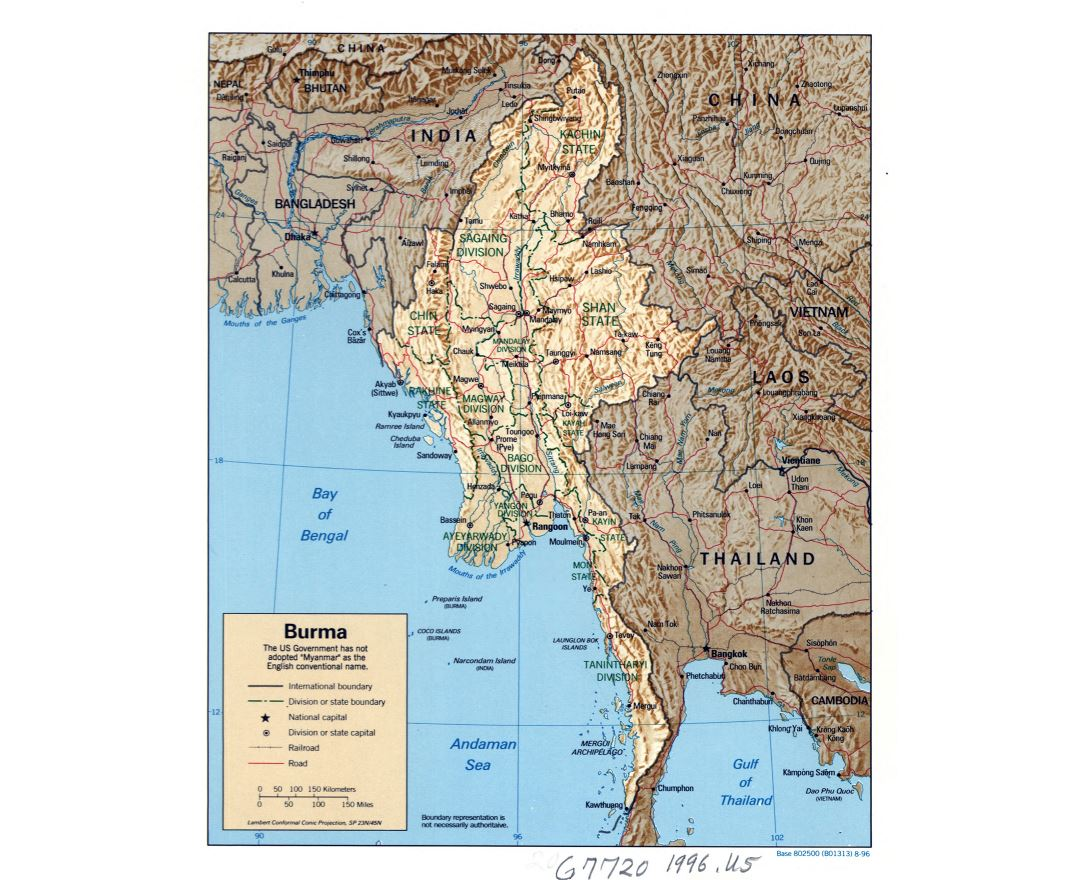Large detailed political and administrative map of Burma (Myanmar) with relief, roads, railroads and major cities - 1996