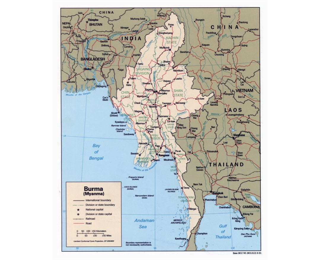 Large detailed political and administrative map of Burma (Myanmar) with roads, railroads and major cities - 1991