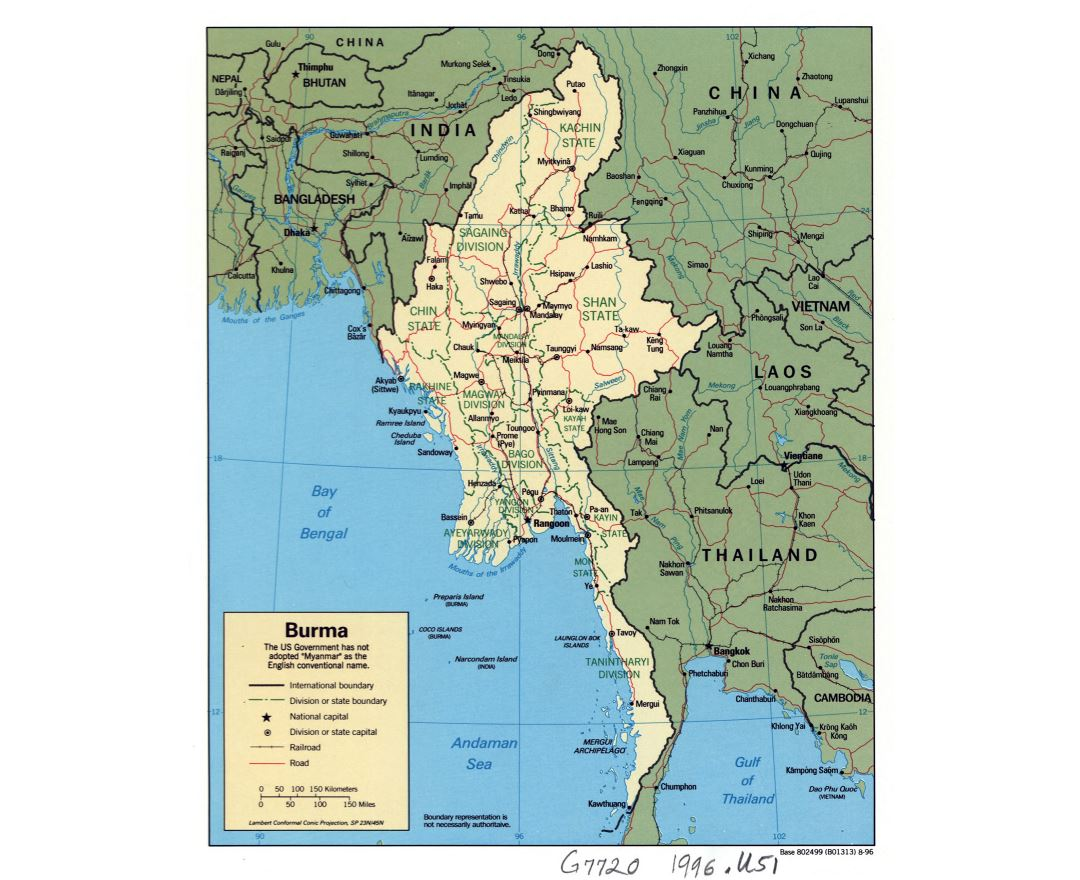 Large detailed political and administrative map of Burma (Myanmar) with roads, railroads and major cities - 1996