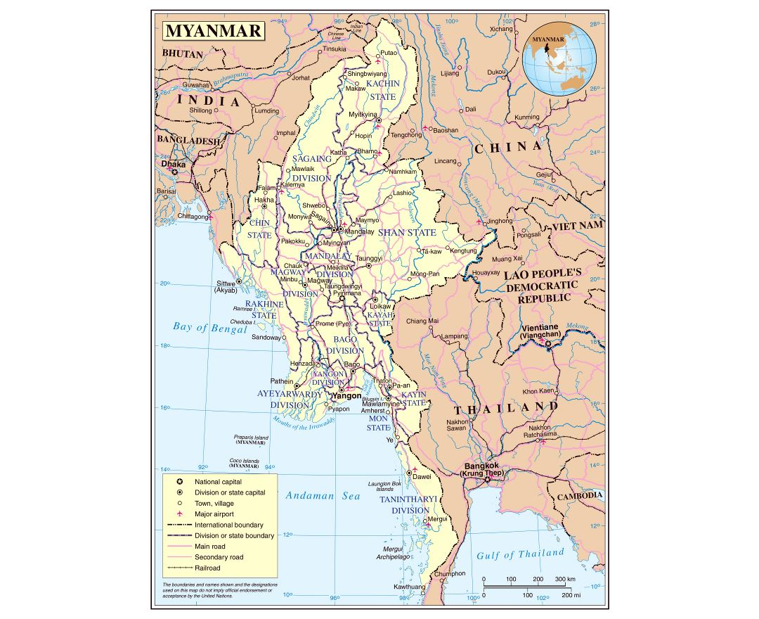Large detailed political and administrative map of Burma with roads, railroads, cities and airports