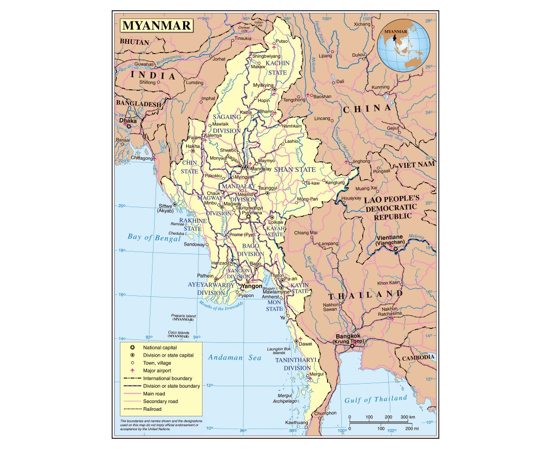 Large detailed political and administrative map of Myanmar with roads, railroads, cities and airports