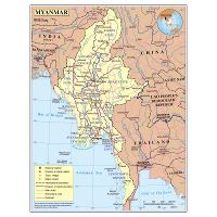 Large physical map of Myanmar with roads, cities and ...