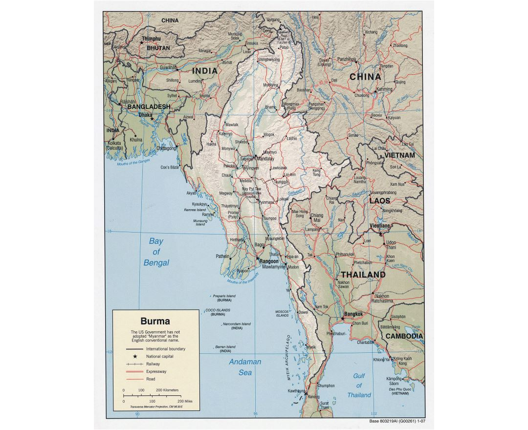 Large detailed political map of Burma (Myanmar) with relief, roads, railroads and major cities - 2007