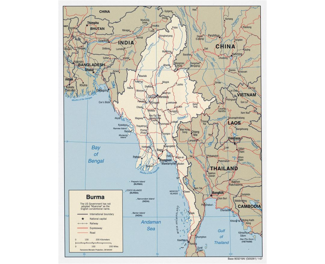 Large detailed political map of Burma (Myanmar) with roads, railroads and major cities - 2007