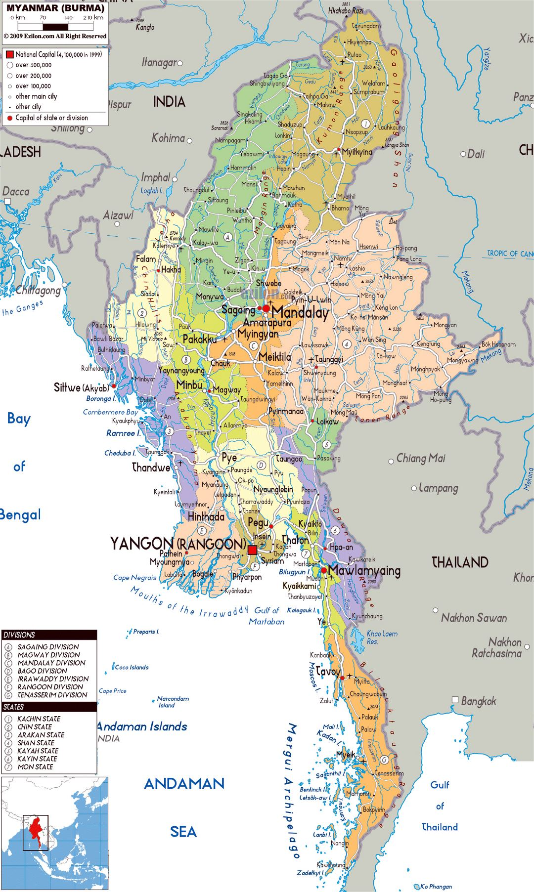 Large political and administrative map of Myanmar with roads, cities and airports