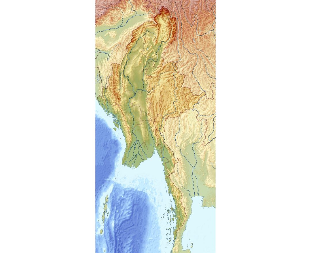 Large relief map of Myanmar (Burma)