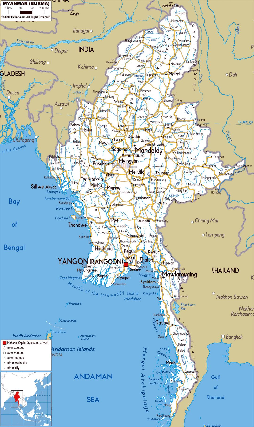 Large road map of Myanmar with cities and airports
