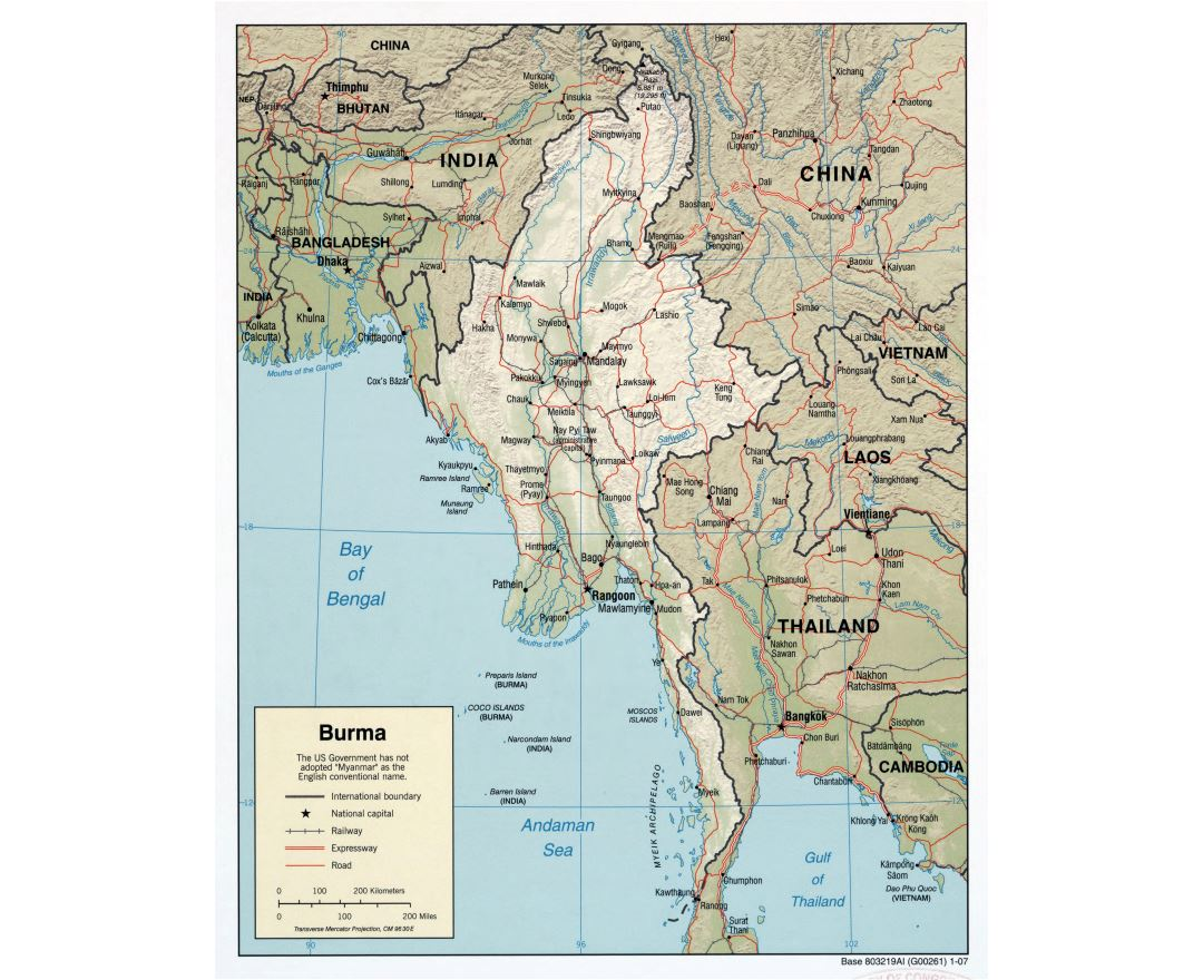 Large scale political map of Burma (Myanmar) with relief, roads, railroads and major cities - 2007
