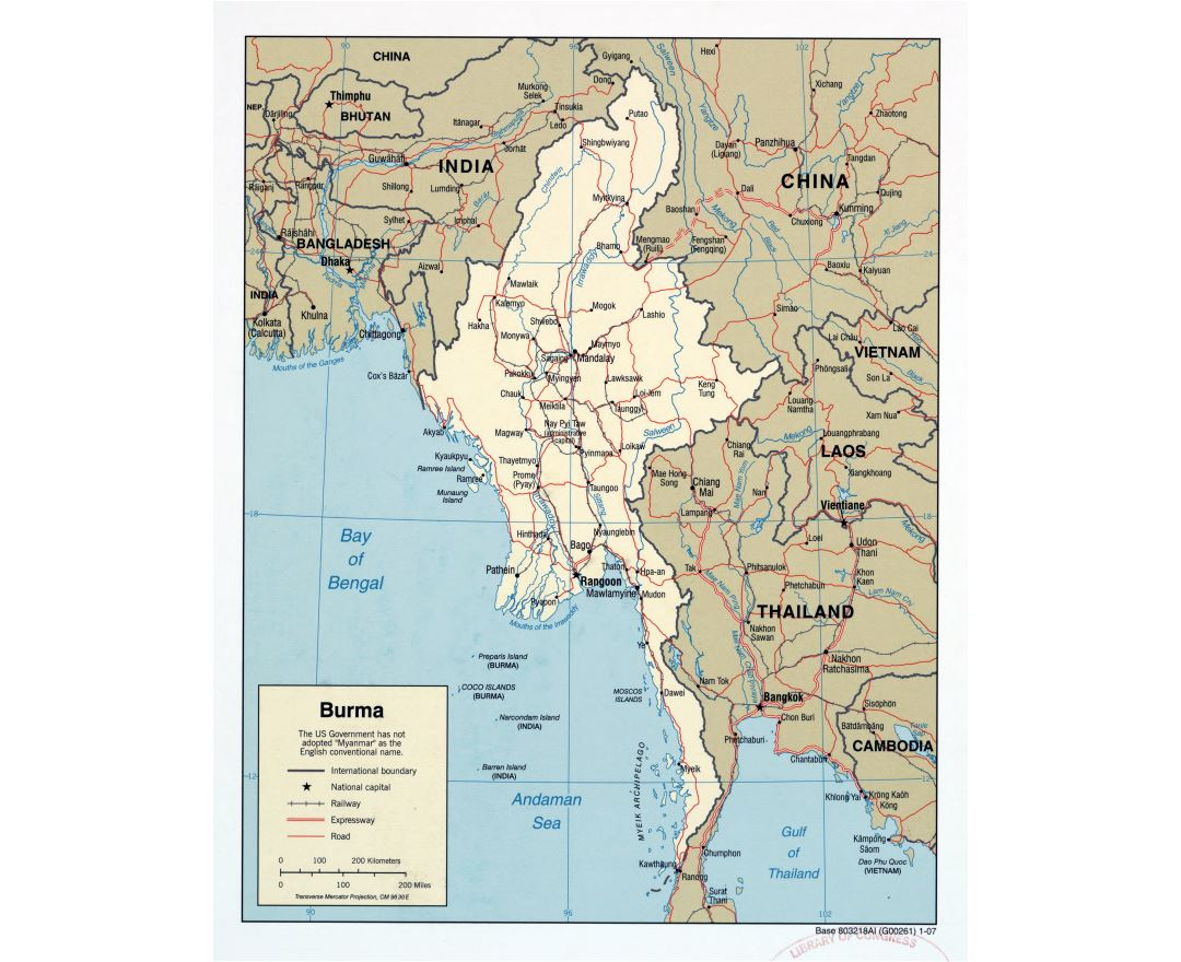 Large scale political map of Burma (Myanmar) with roads, railroads and major cities - 2007