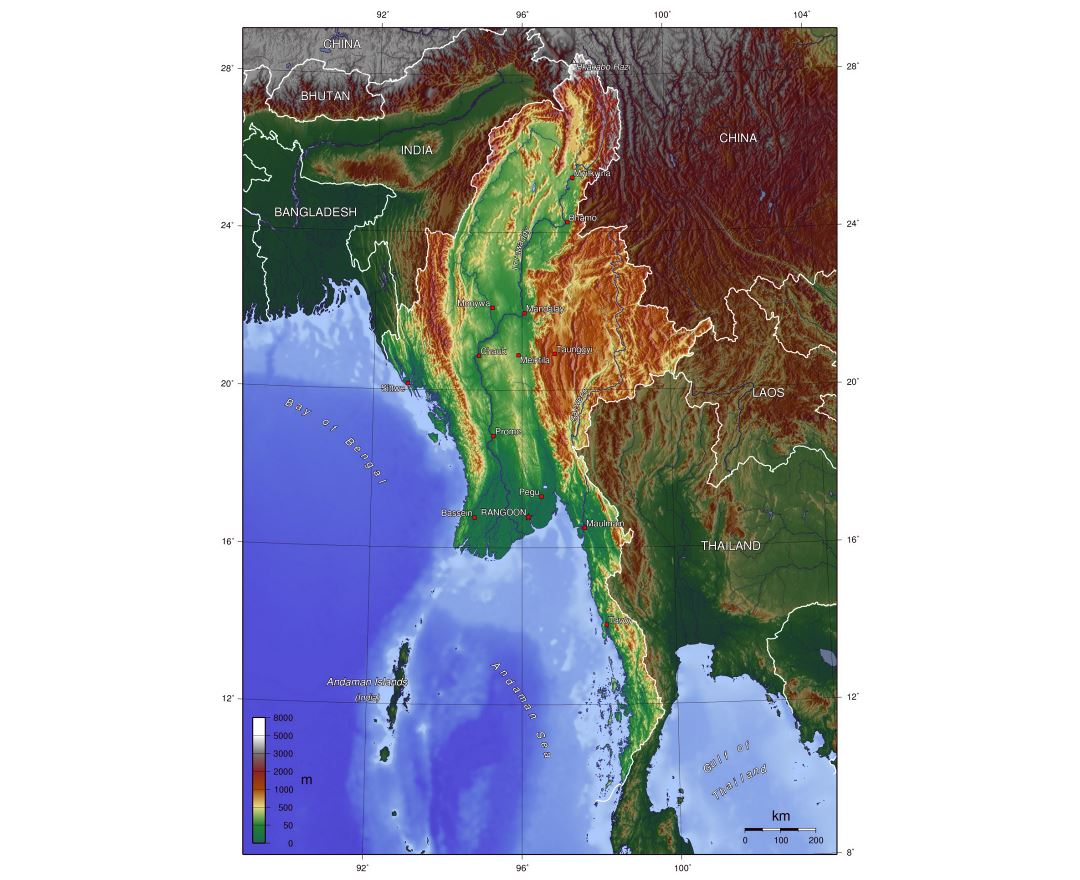 Large topographical map of Burma
