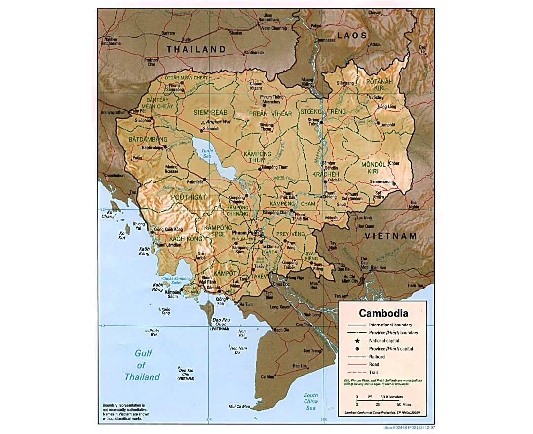 Vietnam physical map wyoroadfo map maps of cambodia detailed map of cambodia in english tourist detailed political and administrative map of cambodia with relief roads railroads and major publicscrutiny Images