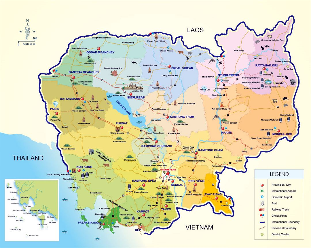 Detailed tourist map of Cambodia