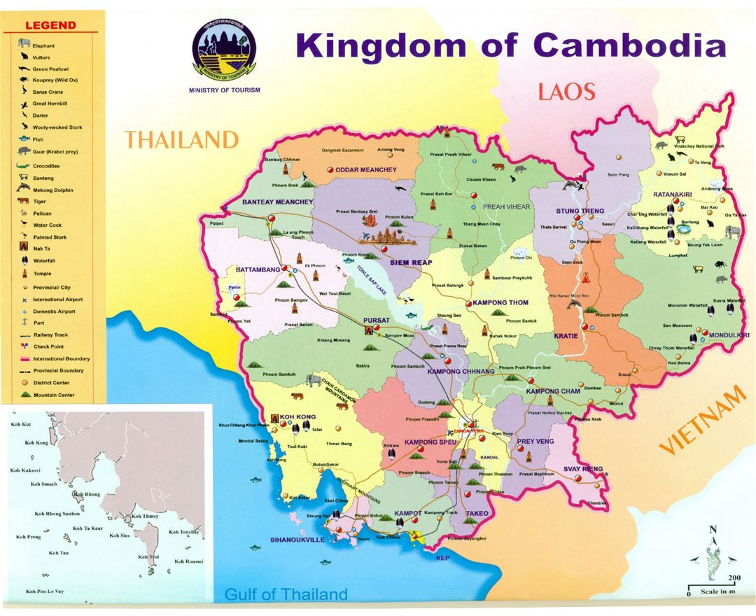 Detailed tourist map of Kingdom of Cambodia