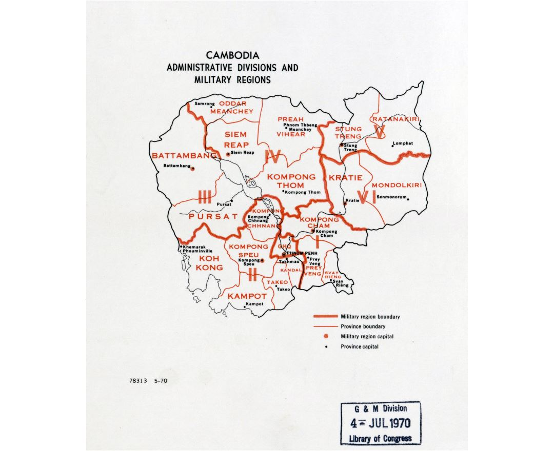 Large detailed administrative divisions and military regions map of Cambodia - 1970