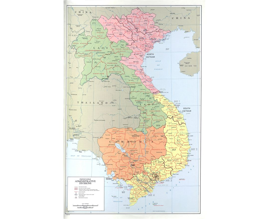 Large detailed administrative divisions map of Indochina - 1970