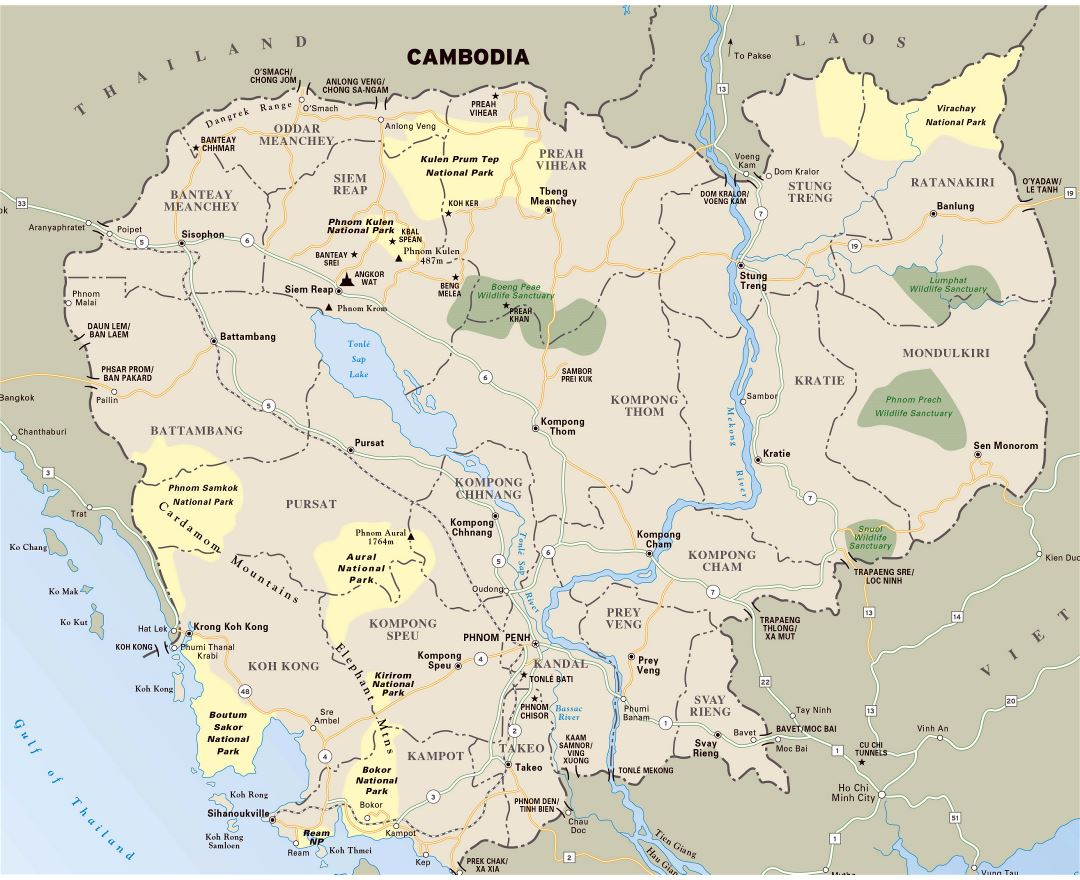 Large detailed national parks map of Cambodia with highways and major cities