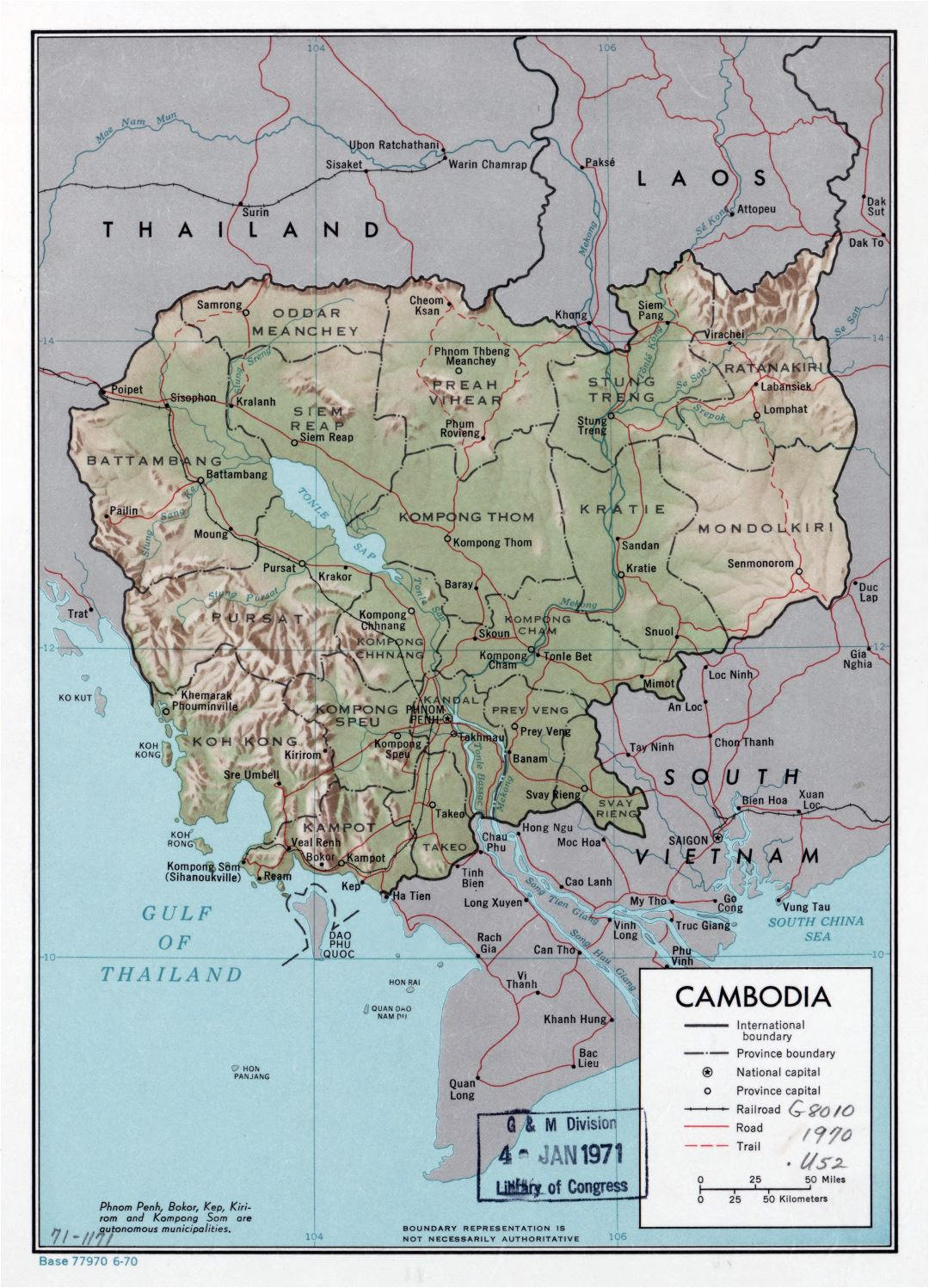 Large detailed political and administrative map of Cambodia with relief, roads, railroads and major cities - 1970