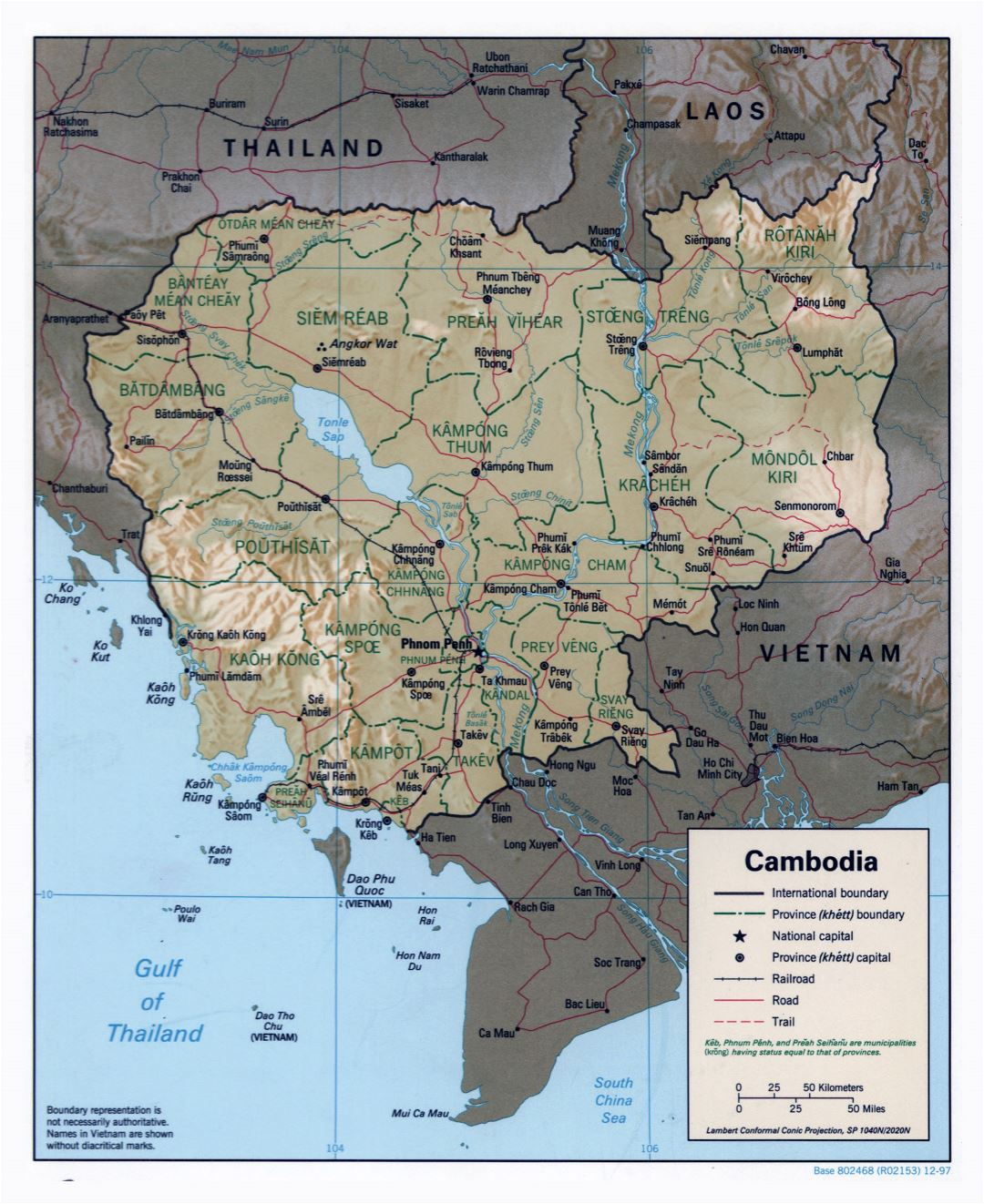 Large detailed political and administrative map of Cambodia with relief, roads, railroads and major cities - 1997