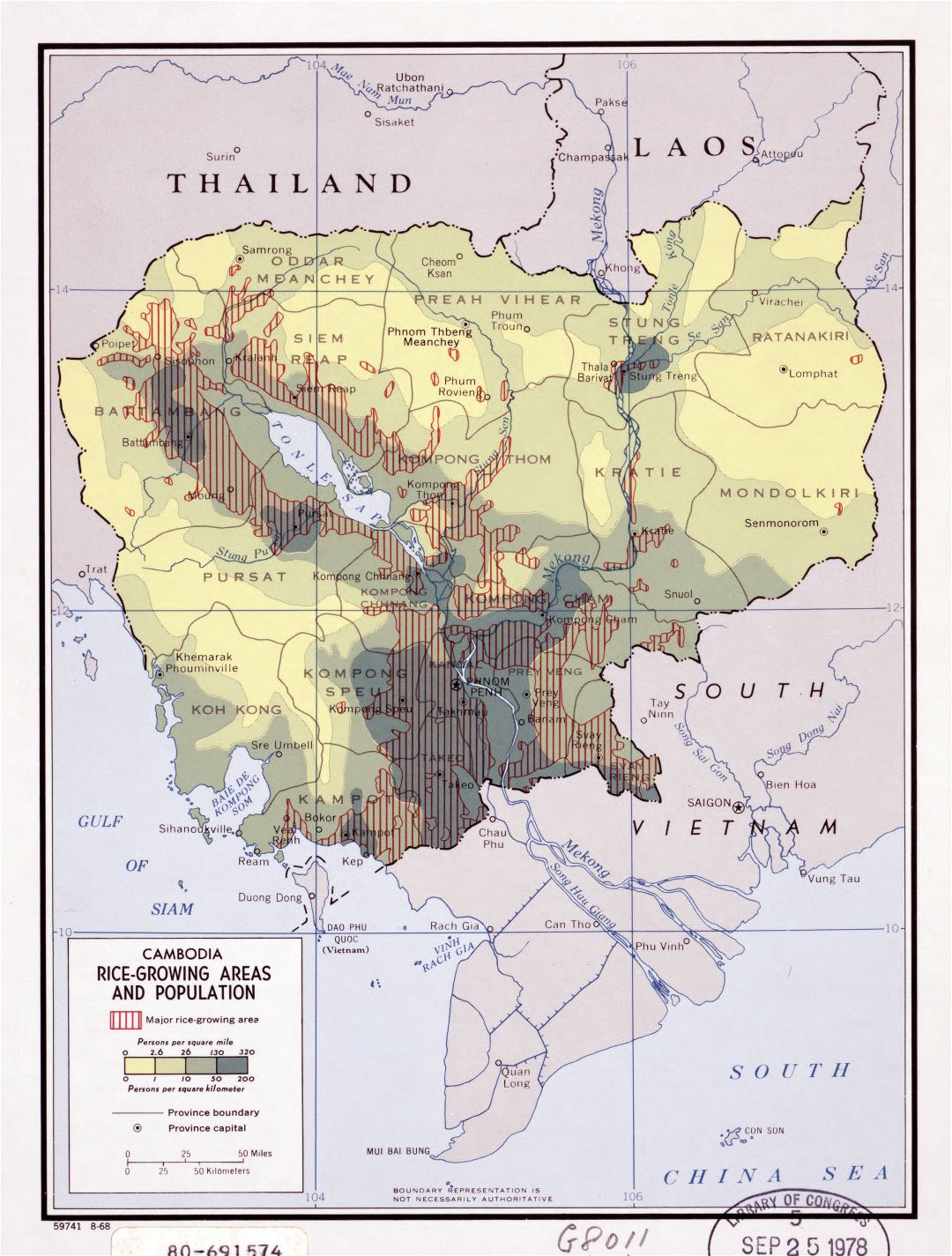 Large detailed rice growing areas and population map of Cambodia - 1968