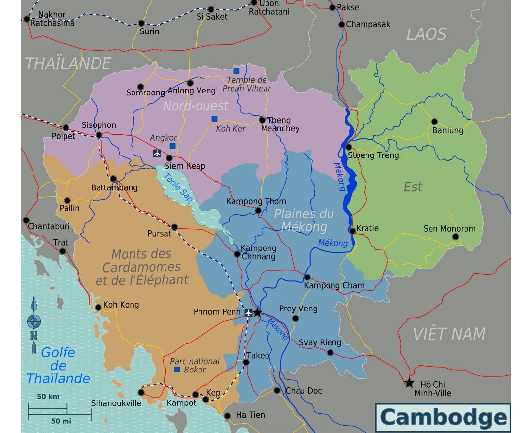Large regions map of Cambodia