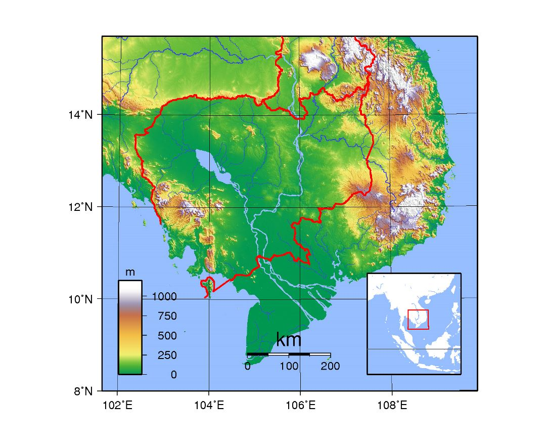 Large topographical map of Cambodia