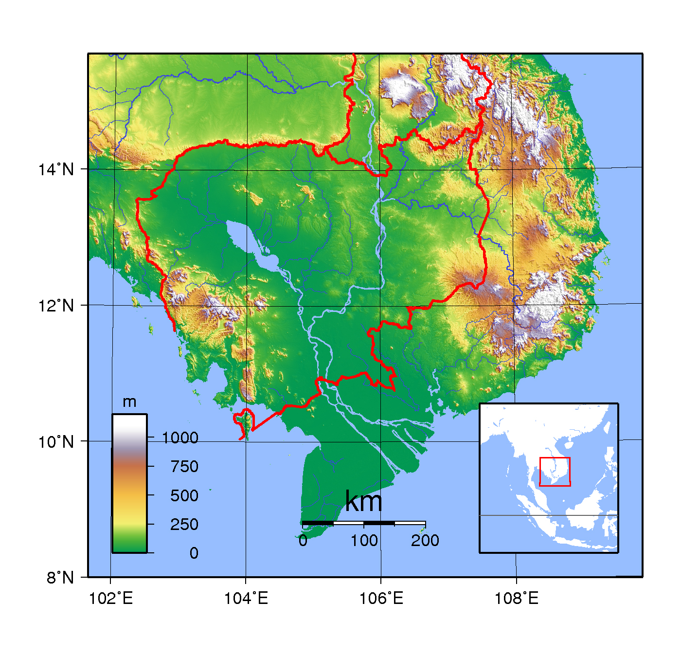 Large topographical map of cambodia cambodia asia mapsland large topographical map of cambodia gumiabroncs Images