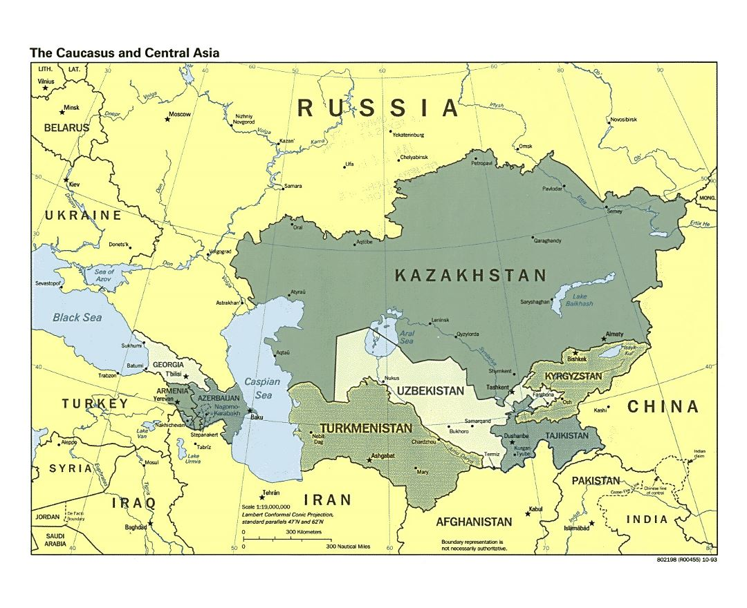 Detailed political map of the Caucasus and Central Asia with capitals and major cities - 1993