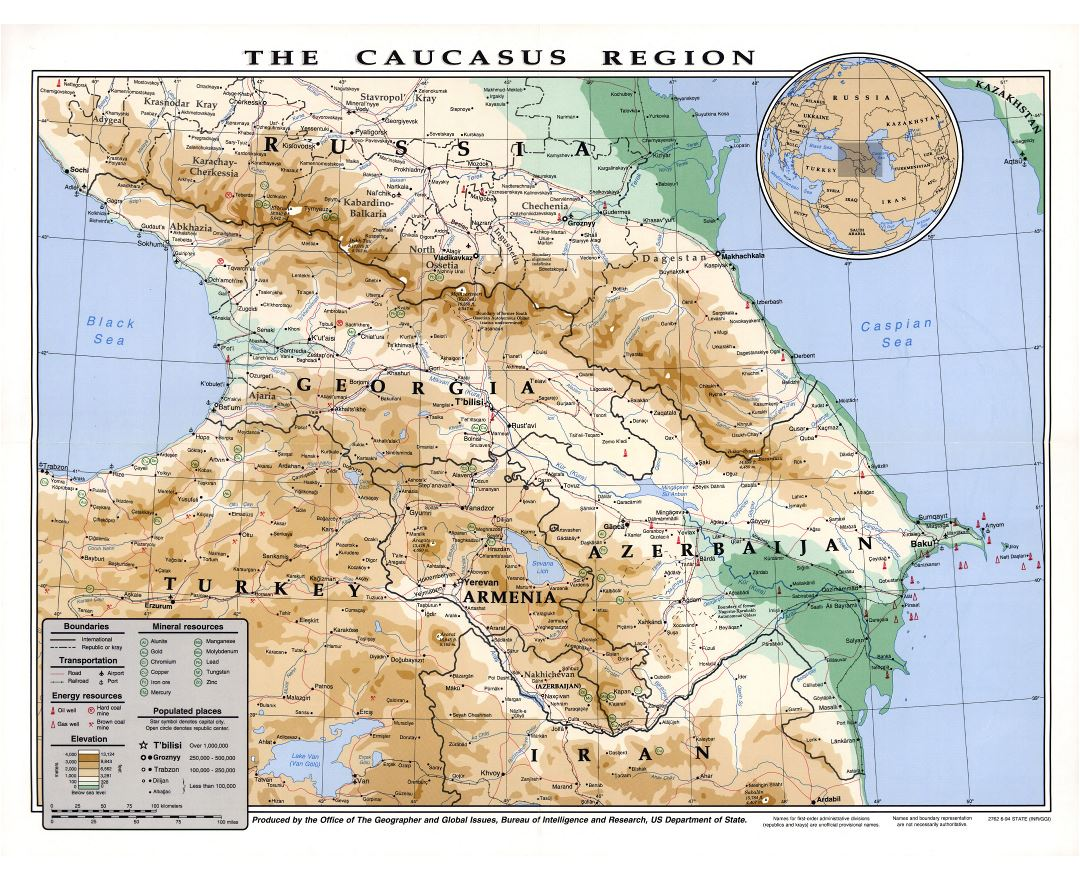 Large detailed elevation map of the Caucasus Region with other marks - 1994