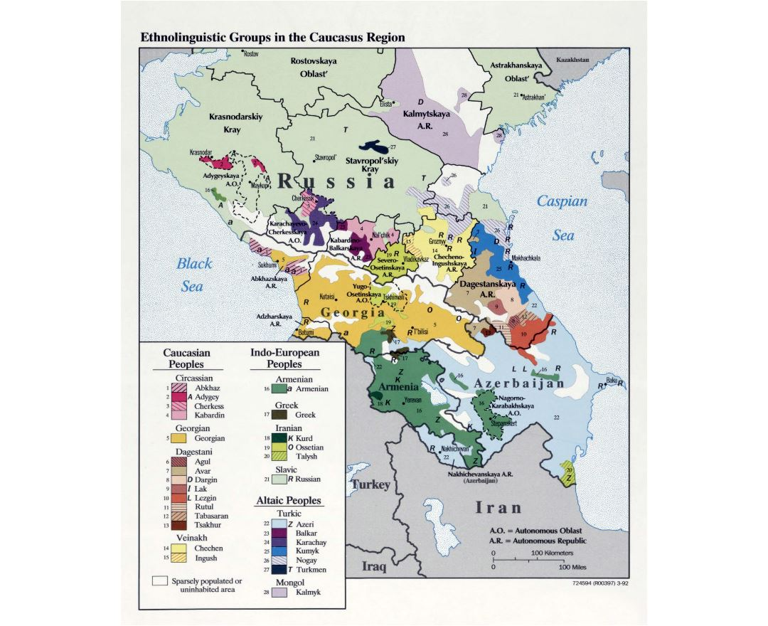 Large detailed map of Ethnolinguistic Groups in the Caucasus Region - 1992