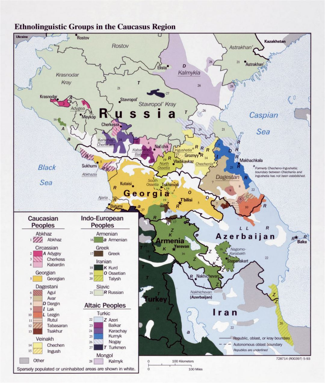 Large detailed map of Ethnolinguistic Groups in the Caucasus Region - 1993